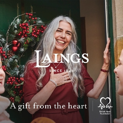 Jewellers, Laings has donated £5,000 to the British Heart Foundation