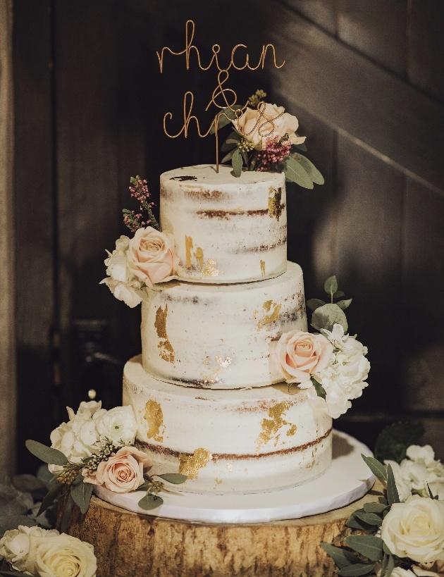 Semi-naked three-tier cake