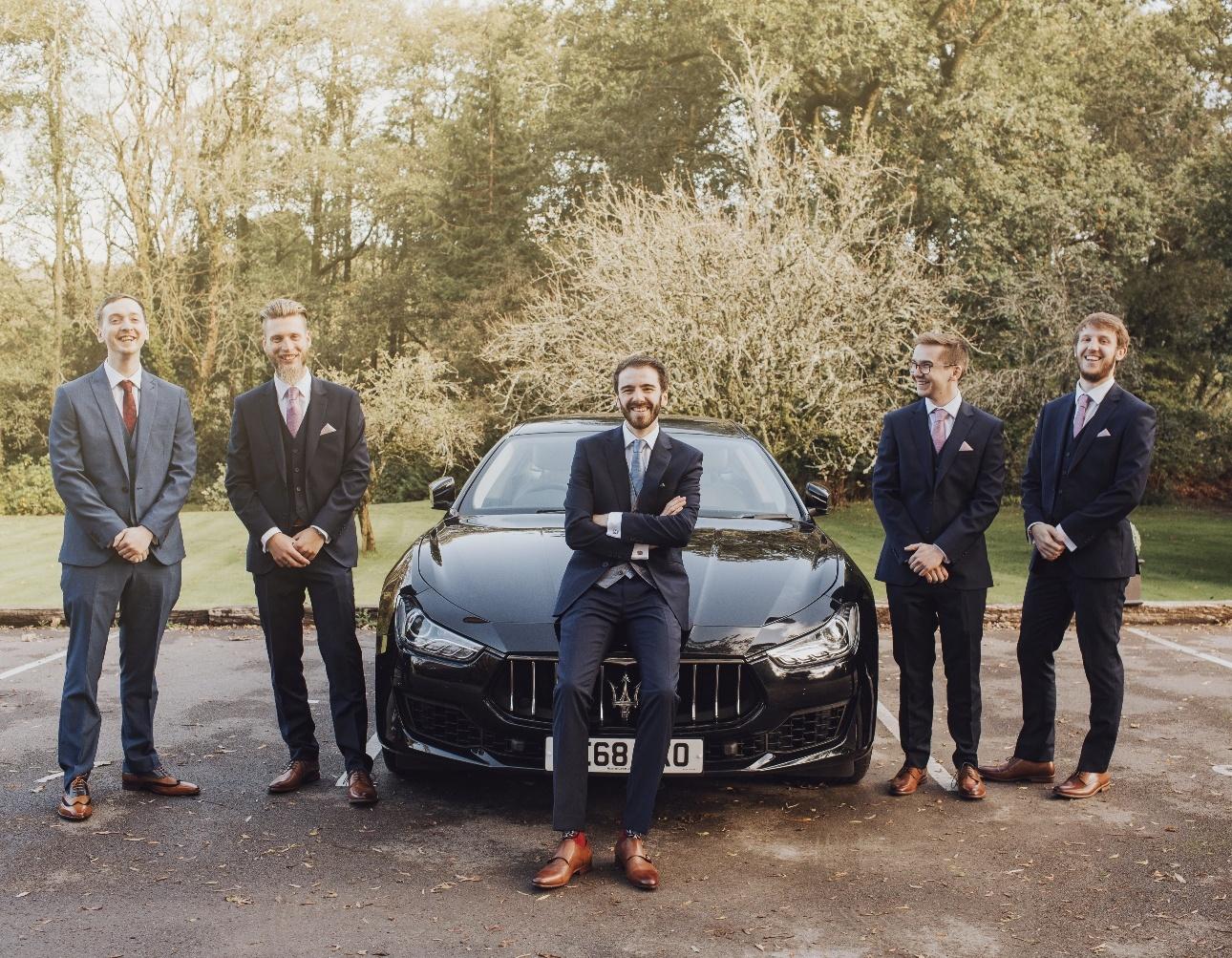 Groomsmen with Maserati Ghibli
