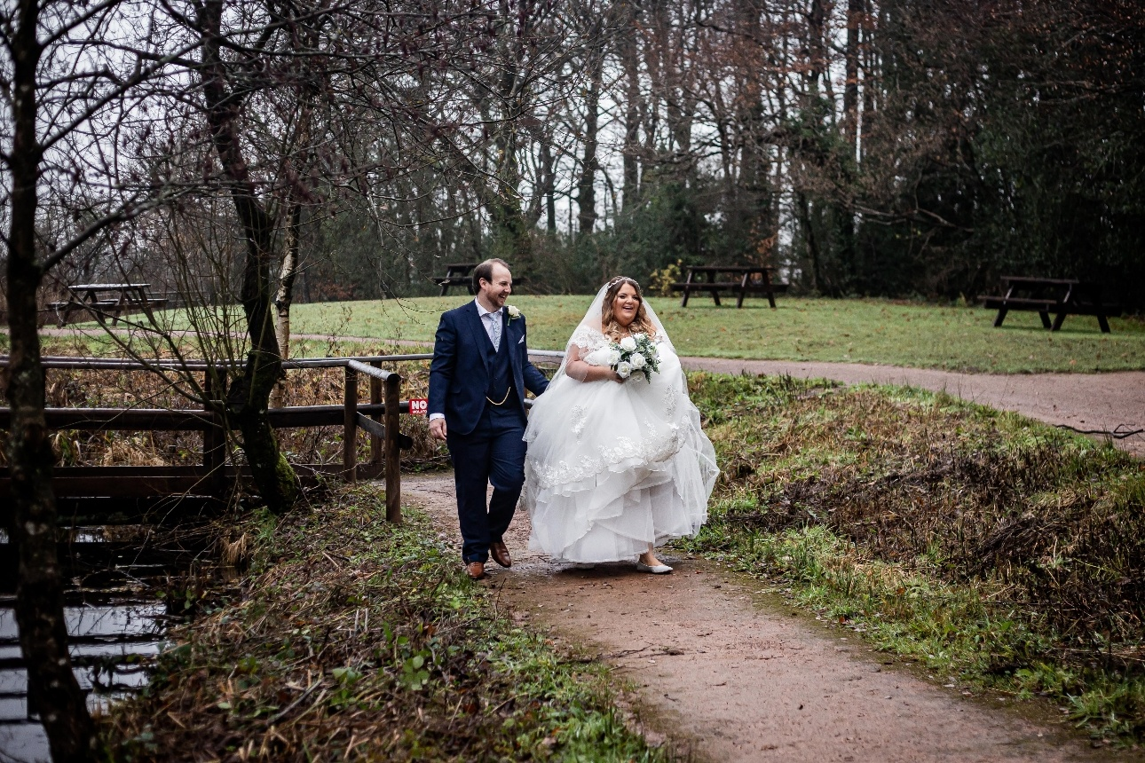 Couple wandering through grounds